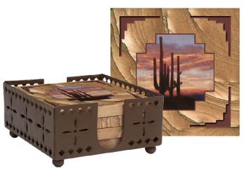 Saguaro Cactus Sunset Sandstone Coasters with Steel Holder, Set of 10