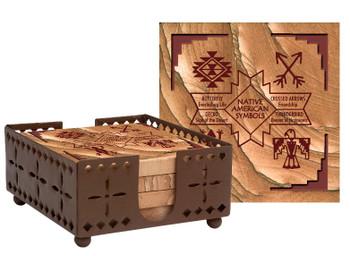 Native Symbols II Sandstone Coasters with Steel Holder, Set of 10