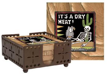 Dry Heat Skeleton Sandstone Coasters with Steel Holder, Set of 10