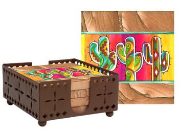 Saguaro Cactus Trio Sandstone Coasters with Steel Holder, Set of 10