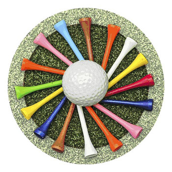 Golf Tees Absorbent Round Beverage Coasters, Set of 8