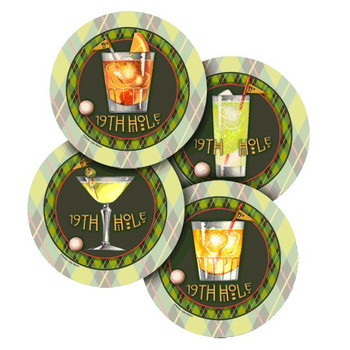 19th Hole Golf Beverage Coasters by Eureka Lake Studios, Set of 8