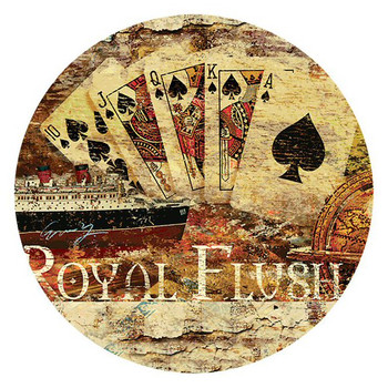 Royal Flush Poker Round Beverage Coasters by Eric Yang, Set of 8