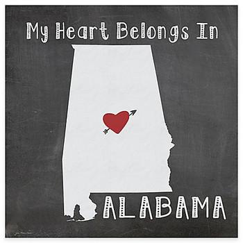 My Heart Belongs In Alabama Absorbent Beverage Coasters, Set of 8