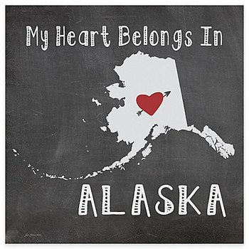 My Heart Belongs In Alaska Absorbent Beverage Coasters, Set of 8