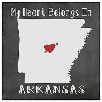 My Heart Belongs In Arkansas Absorbent Beverage Coasters, Set of 8
