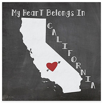 My Heart Belongs In California Absorbent Beverage Coasters, Set of 8