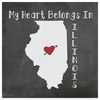 My Heart Belongs In Illinois Absorbent Beverage Coasters, Set of 8