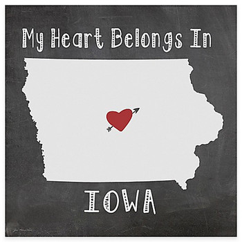 My Heart Belongs In Iowa Absorbent Beverage Coasters, Set of 8
