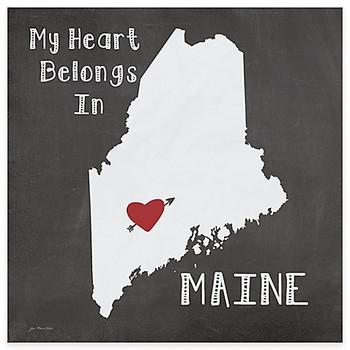 My Heart Belongs In Maine Absorbent Beverage Coasters, Set of 8