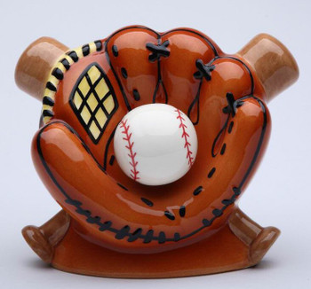 Baseball Bat and Mitt Porcelain Coin Bank