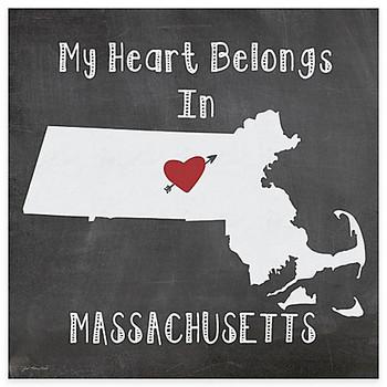 My Heart Belongs In Massachusetts Beverage Coasters, Set of 8