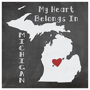 My Heart Belongs In Michigan Absorbent Beverage Coasters, Set of 8