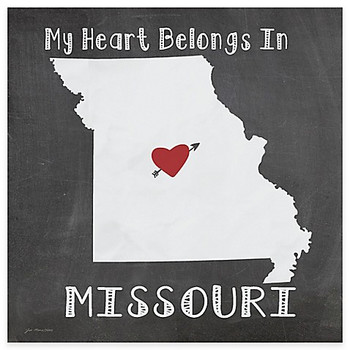 My Heart Belongs In Missouri Absorbent Beverage Coasters, Set of 8