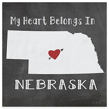 My Heart Belongs In Nebraska Absorbent Beverage Coasters, Set of 8