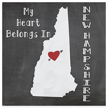 My Heart Belongs In New Hampshire Beverage Coasters, Set of 8