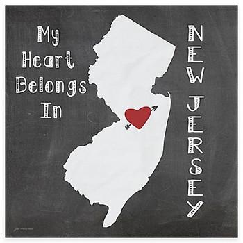 My Heart Belongs In New Jersey Absorbent Beverage Coasters, Set of 8