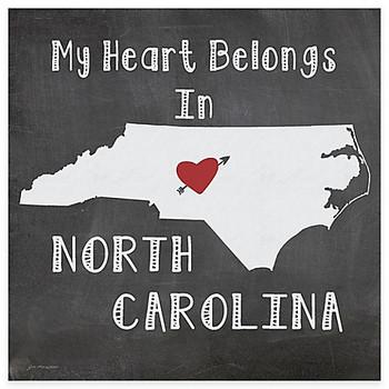My Heart Belongs In North Carolina Beverage Coasters, Set of 8
