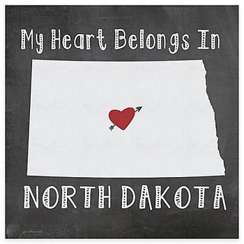 My Heart Belongs In North Dakota Absorbent Beverage Coasters, Set of 8
