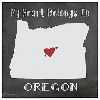 My Heart Belongs In Oregon Absorbent Beverage Coasters, Set of 8
