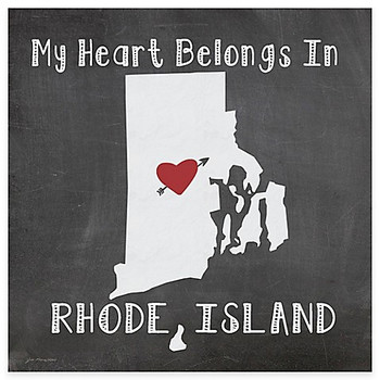My Heart Belongs In Rhode Island Absorbent Beverage Coasters, Set of 8