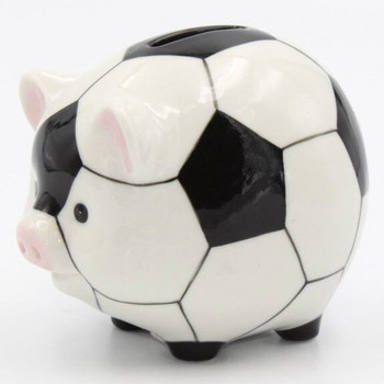 Soccer Ball Porcelain Piggy Bank