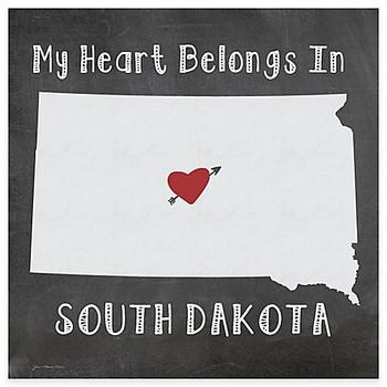 My Heart Belongs In South Dakota Absorbent Beverage Coasters, Set of 8