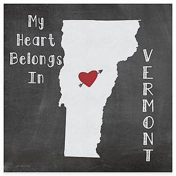 My Heart Belongs In Vermont Absorbent Beverage Coasters, Set of 8