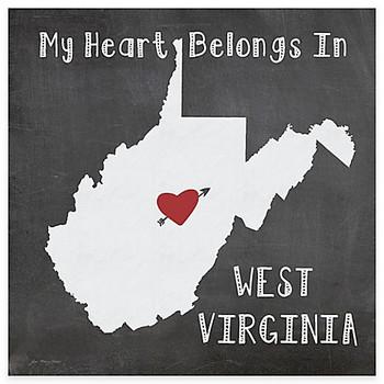 My Heart Belongs In West Virginia Beverage Coasters, Set of 8