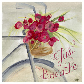 Just Breathe Bike Basket Flowers Beverage Coasters, Set of 12