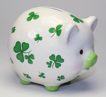 Lucky Shamrock Porcelain Piggy Bank