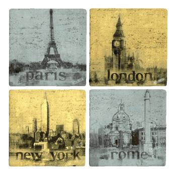 Romantic Cities Travertine Coasters by Claudine Hellmuth, Set of 8