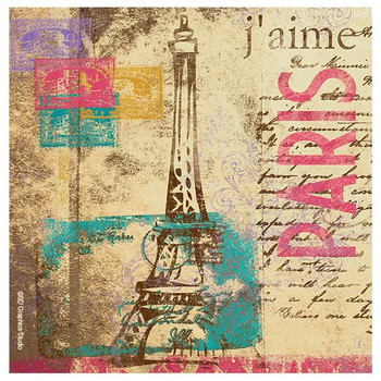 Paris Stamp Beverage Coasters by SD Graphics Studio, Set of 8