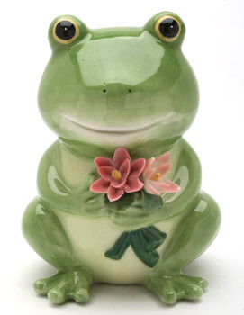 Frog Holding Flowers Porcelain Bank