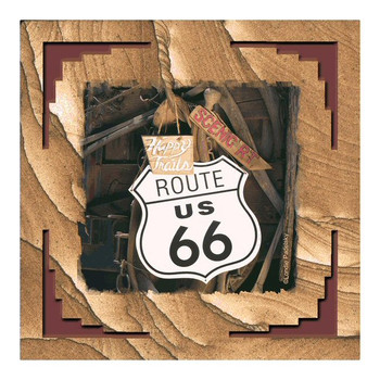 Route 66 Cinnabar Sandstone Coasters by Londie Padelsky, Set of 8