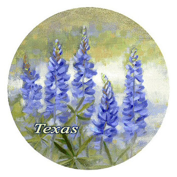 Bluebonnets Flowers Texas Sandstone Round Beverage Coasters, Set of 8