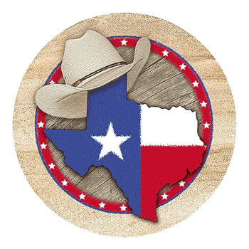 Texas Sandstone Round Beverage Coasters, Set of 8