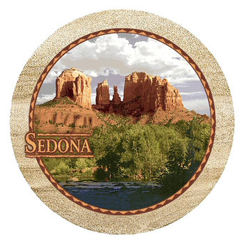 Red Rock Sedona Arizona Sandstone Round Beverage Coasters, Set of 8
