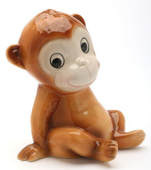 Sitting Monkey Porcelain Bank