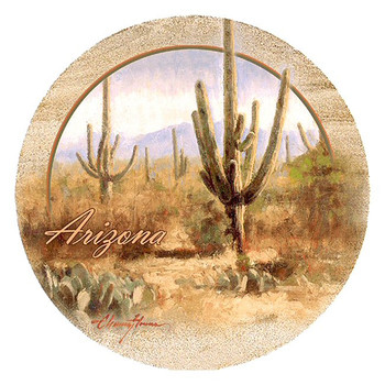 Saguaro Cactus Arizona Sandstone Coasters by Chauncey Homer, Set of 8