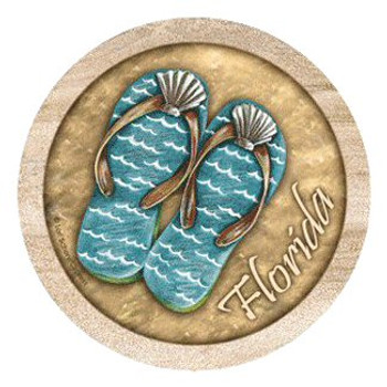 Flip Flops Florida Sandstone Round Coasters by Lori Schory, Set of 8
