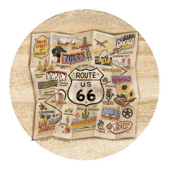 Route 66 Map Sandstone Round Beverage Coasters by Dupre, Set of 8