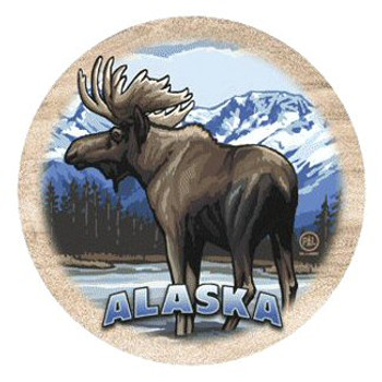 Moose in Stream Alaska Sandstone Coasters by Neal Anderson, Set of 8