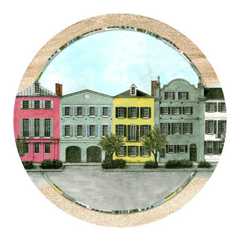Rainbow Row South Carolina Coasters by Troy Cottrill, Set of 8