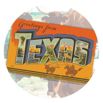 Greetings From Texas Absorbent Round Beverage Coasters, Set of 8