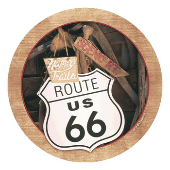 Route 66 Round Beverage Coasters by Londie Padelsky, Set of 8