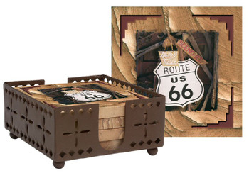 Route 66 Cinnabar Sandstone Coasters with Steel Holder, Set of 10