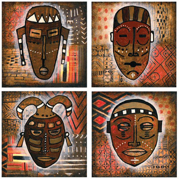 Tribal Mask Absorbent Beverage Coasters by D. Davis, Set of 8
