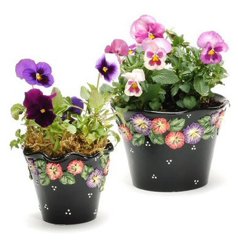 Pansy Flower Planter, Set of 2