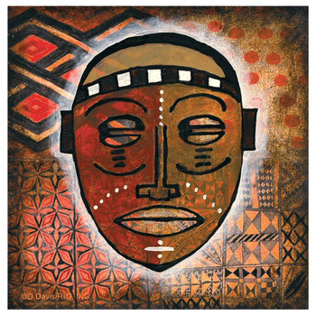Tribal Mask II Absorbent Beverage Coasters by D. Davis, Set of 12